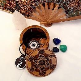 boite métatron et 7 chakras en bois